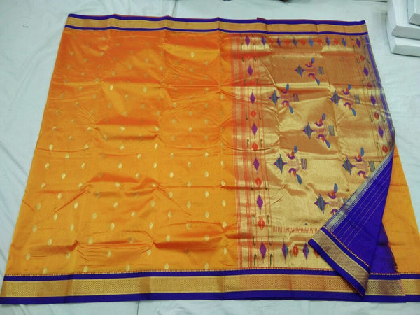 Yellow and Blue Border with Golden Peacock Pallu Semi Paithani Saree-PAITHANI-103