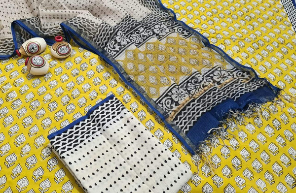 Yellow and Blue Handblock Unstitched Printed Cotton Suit