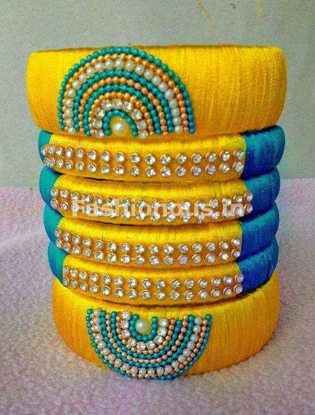 Yellow and Blue Silk Thread Bangle Set-STBS-013