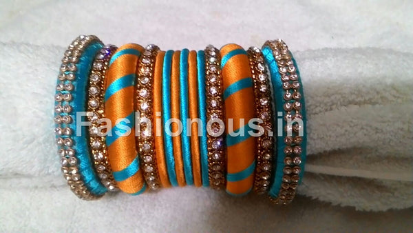 Yellow and Blue Silk Thread Bangles