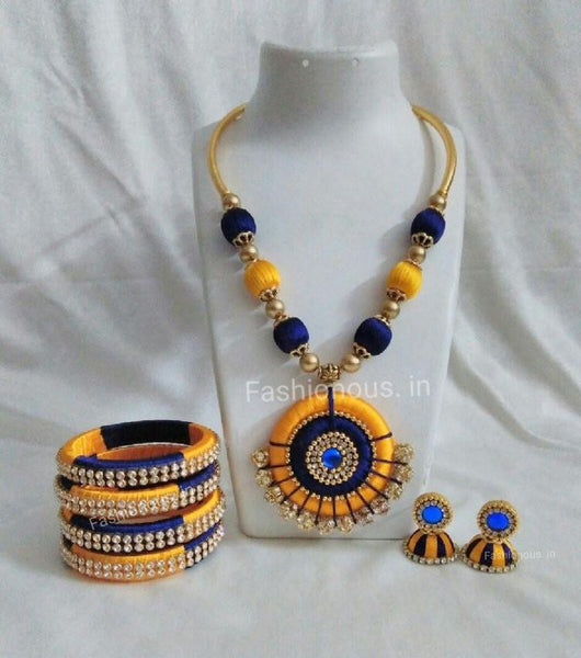 Yellow and Blue Silk Thread Jewellery Set