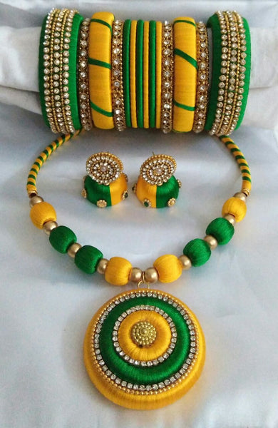Yellow and Green Silk Thread Jewellery Set