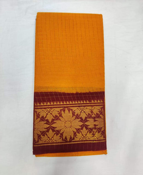 Yellow and Maroon-Madurai Sungudi Sarees - Double side Jari Border