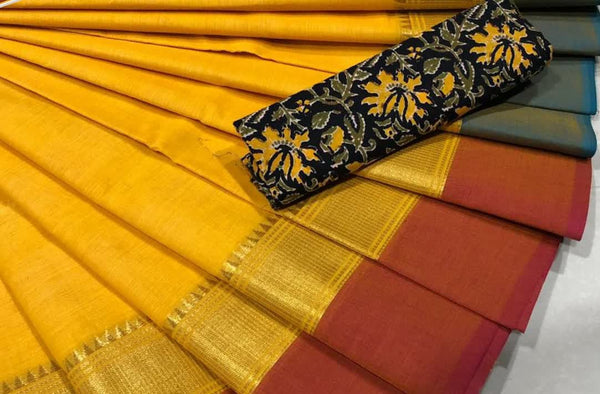 Yellow and Maroon  Pure Cotton Saree CPC 006