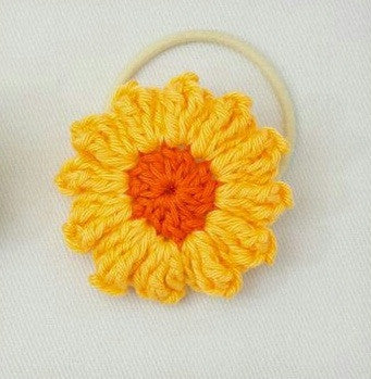 Yellow and Orange color Floral Crochet Hair Band