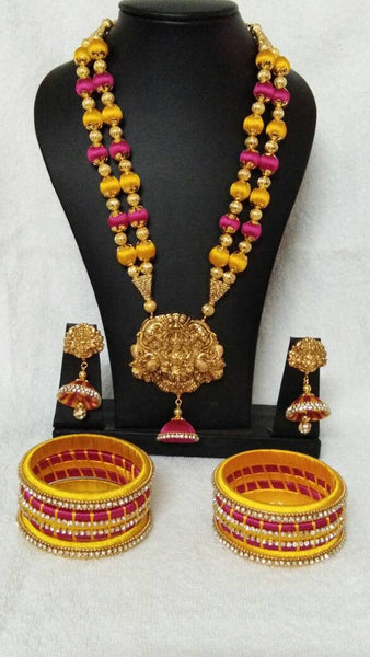 Yellow and Pink Color with Antique Pendant Silk Thread Jewellery Set