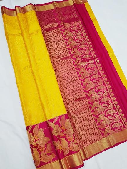 Yellow and Pink Kanchipuram Silk Saree KRSS 009