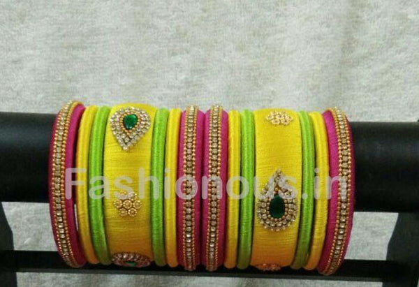 Yellow and Pink Stone Worked Silk Thread Bangle Set-STJSW-026
