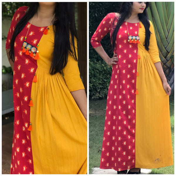 Yellow and Red American Crepe Digital Printed Long Gown-WLG-012
