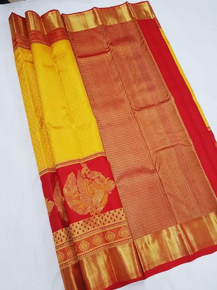 Yellow and Red Kanchipuram Silk Saree KRSS 002