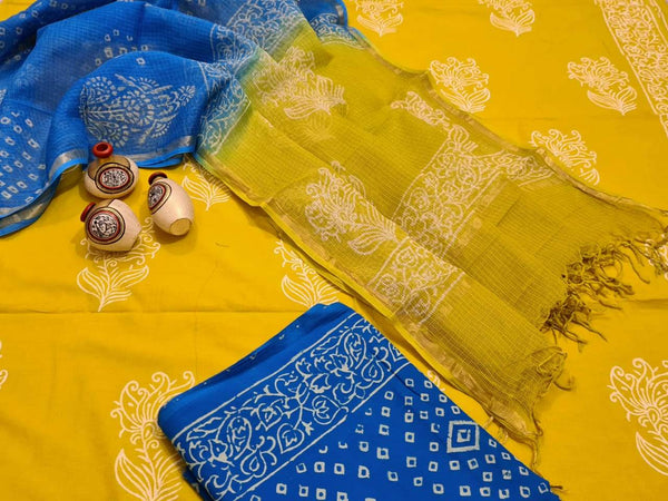 Yellow and Solid Blue Handblock Unstitched Printed Cotton Suit