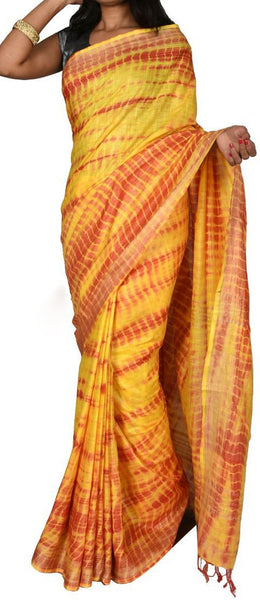 Yellow with Golden Border Linen Saree