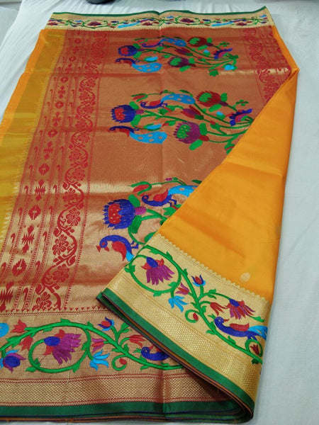 Yellow with Green Border Peacock Designed Pallu Paithani Saree-PAITHANI-077