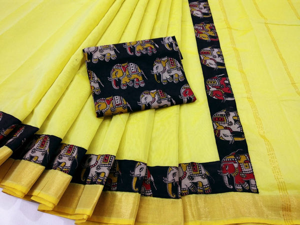 Yellow with Kalamkari Blouse Kotta Mercerized Cotton Saree-SRE-809