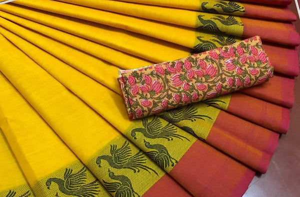 Yellow with Love Bird Border  Pure Cotton Saree CPC 009