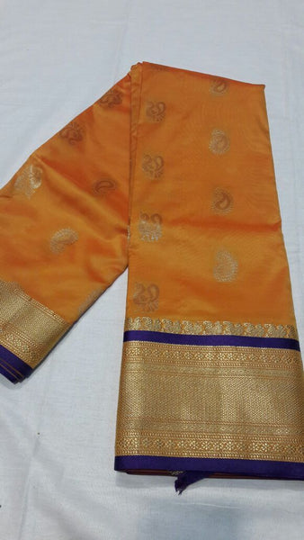 Yellow with Peacock Designed Blue Border Paithani Saree-PAITHANI-035