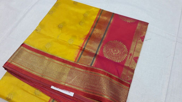 Yellow with Pecock Designed Red Pallu Paithani Saree-PAITHANI-026