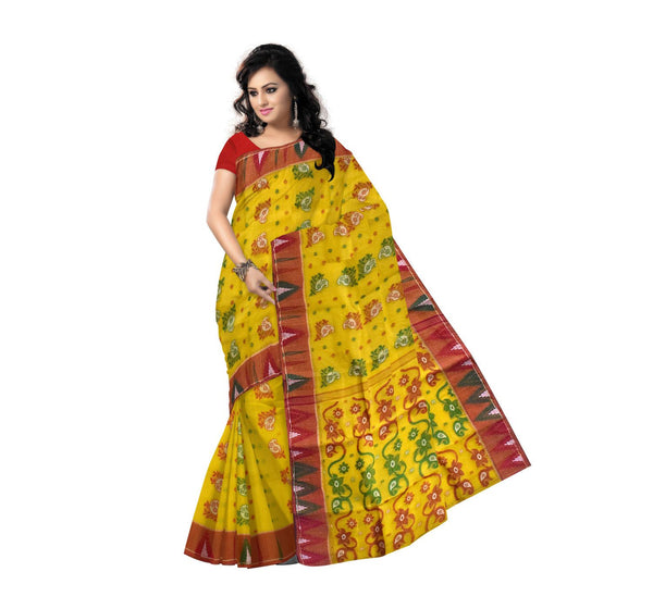 Yellow with Red Floral Handwoven Cotton Saree-OSSWB90013
