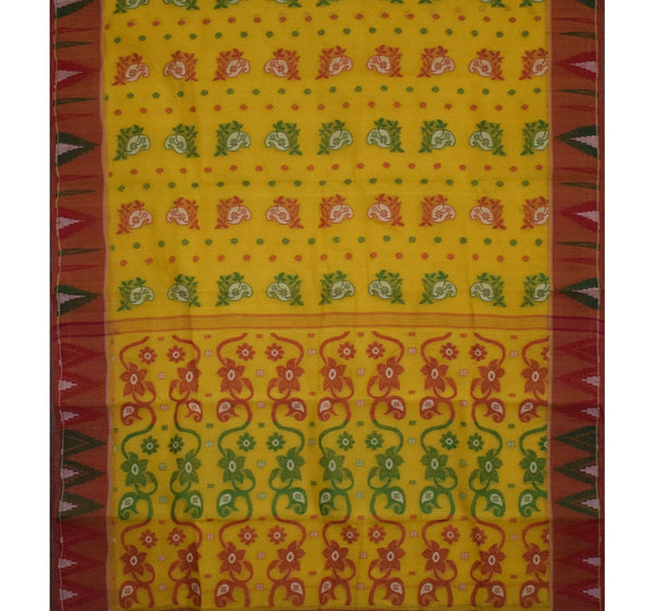 Yellow with Red Floral Handwoven Cotton Saree