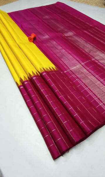 Yellow and Maroon Pure Silk Saree