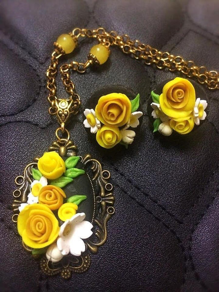 Yellow With White Sunflower Polymer Clay Pendant And Earrings