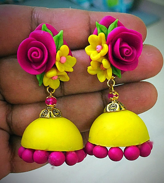 Yellow With Pink Floral Polymer Clay Jhumka