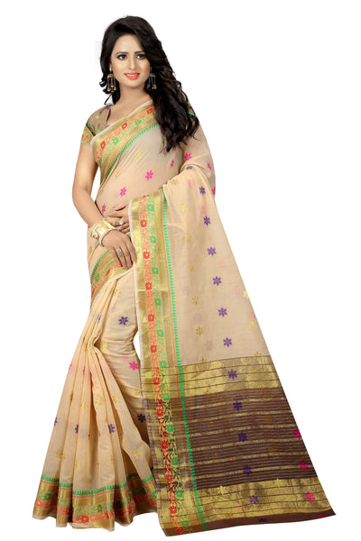 Zalak Cream Banarasi Jacquard Silk Saree-SRP-JS-11 light brown coloured party saree