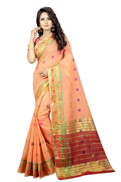 Zalak Light Orange Banarasi Jacquard Silk Saree-SRP-JS-12 peach coloured saree for celebrations