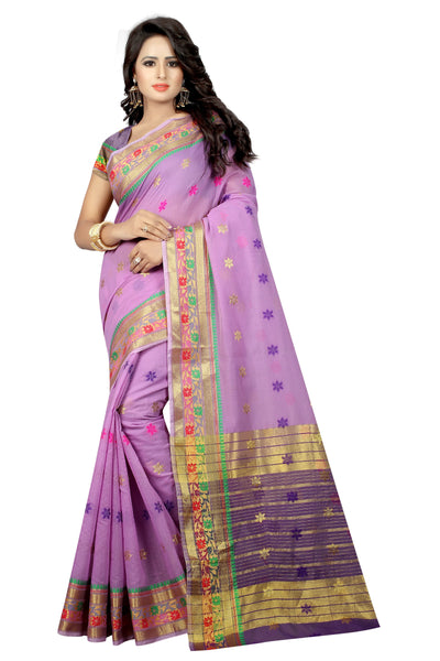 Zalak Light Purple Banarasi Jacquard Silk Saree-SRP-JS-14 lavender coloured partywear saree