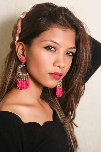 Half Hoop Pink beaded Earrings for Women