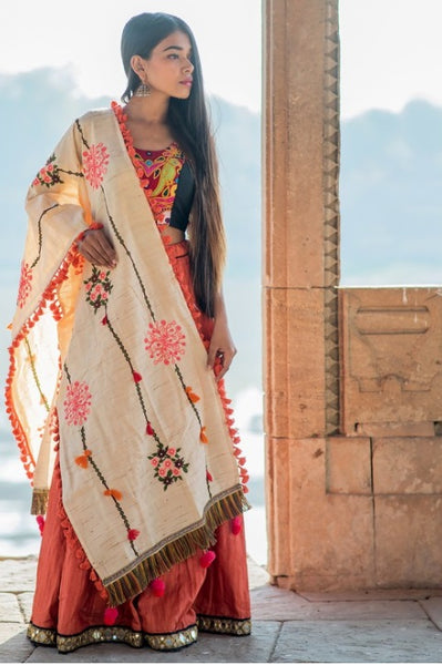 Beige embroidered panel Khadi Cotton dupatta - KHDPT002