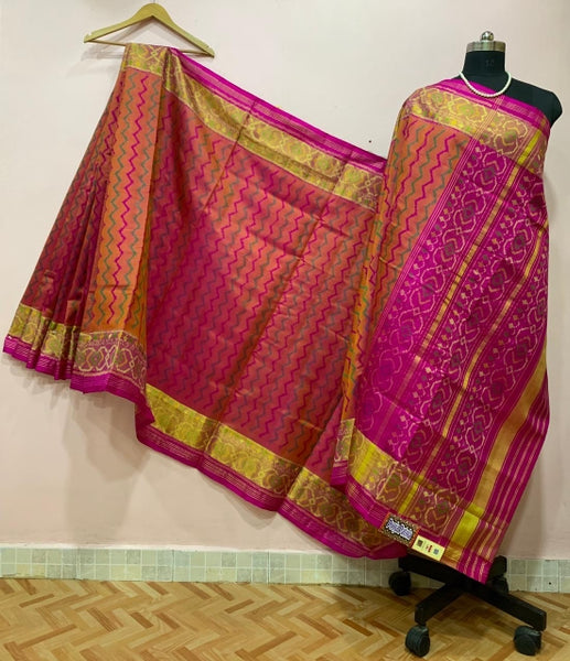 Orange with Pink Wave Designed Patola Silk Saree-PPSRE-042