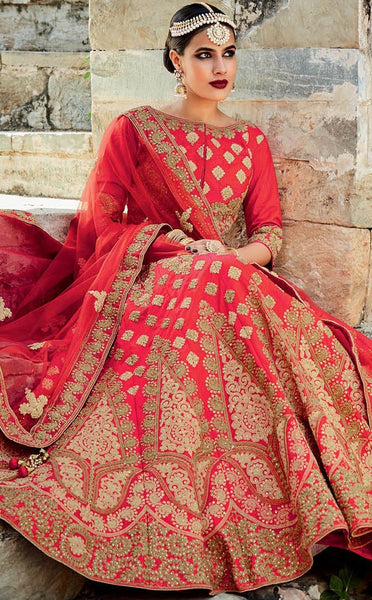 Gorgeous Cream & Dark Golden Fine Art Embroidered Bridal Lehenga