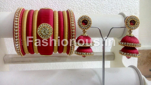 c7e3cd629 Red with Gold Silk Thread Bangles and Jhumkas