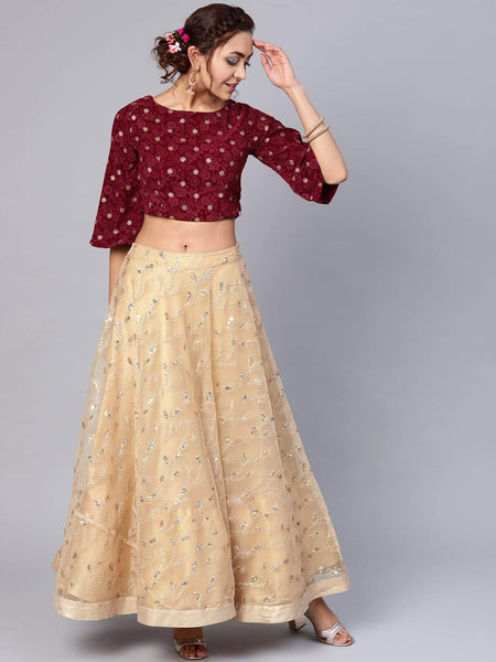 Juniper Gold Net Embellished Lehenga Choli Set_Maroon and Beige