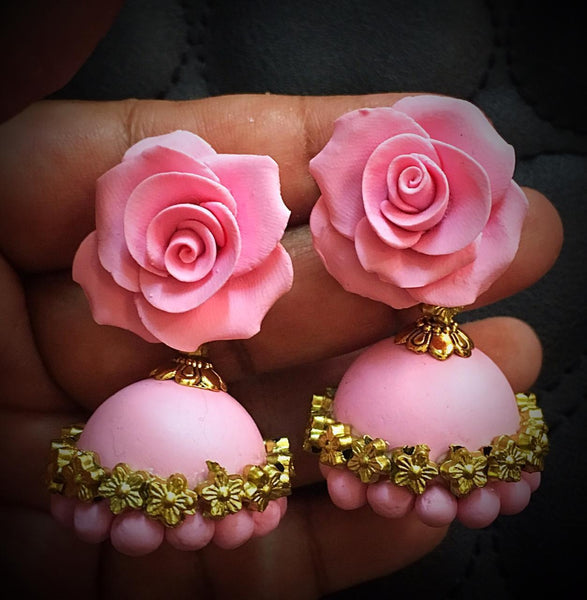 Blush Pink With Golden Polymer Clay Jhumkas