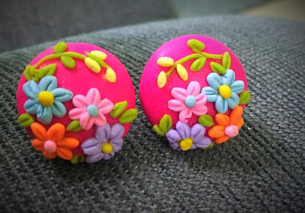 Colorful Flower Round Polymer Clay Earrings