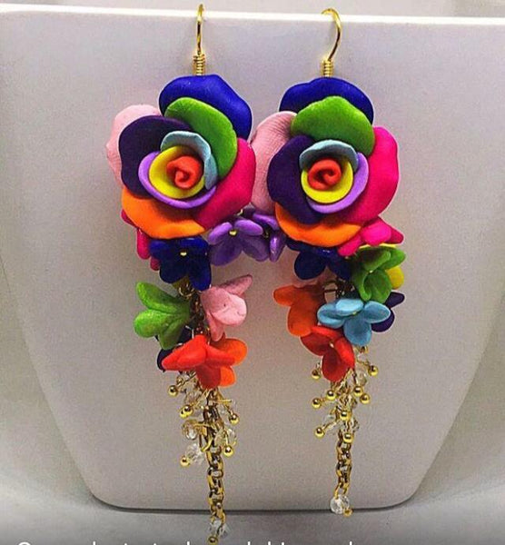 Multi Color Sunflower Hoops Polymer Clay Earrings
