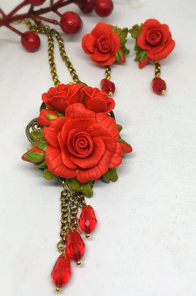 Scarlet Red With Green Floral Polymer Clay Pendant And Earrings