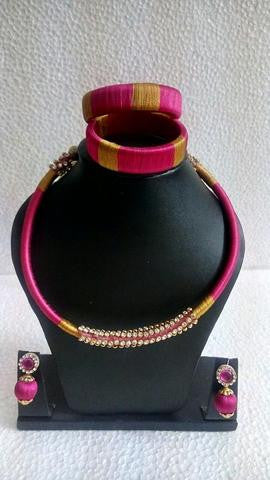Pink and Gold Silk Thread Jewellery Set