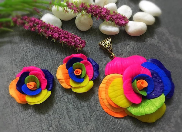 Multi Color Sunflower Hoops Polymer Clay Pendant And Earrings