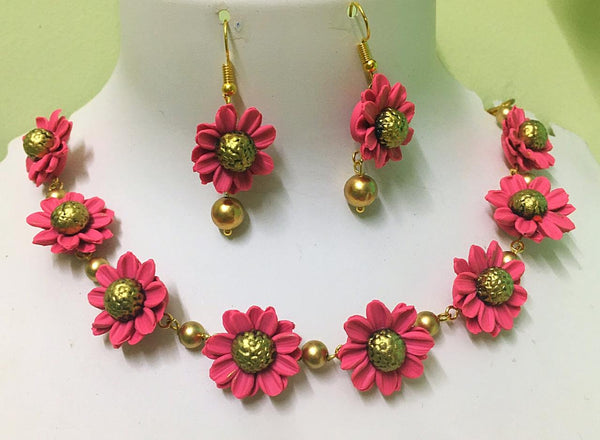 Pink With Mustard Floral Polymer Clay Necklace With Semi Precious Beads And Earrings