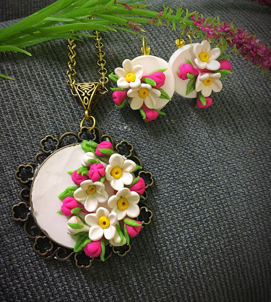 Cream White With Pink Floral Polymer Clay Pendant And Earrings