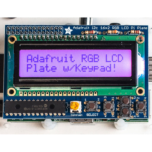 A product image of Adafruit RGB 16x2 LCD and Keypad Kit for Raspberry Pi