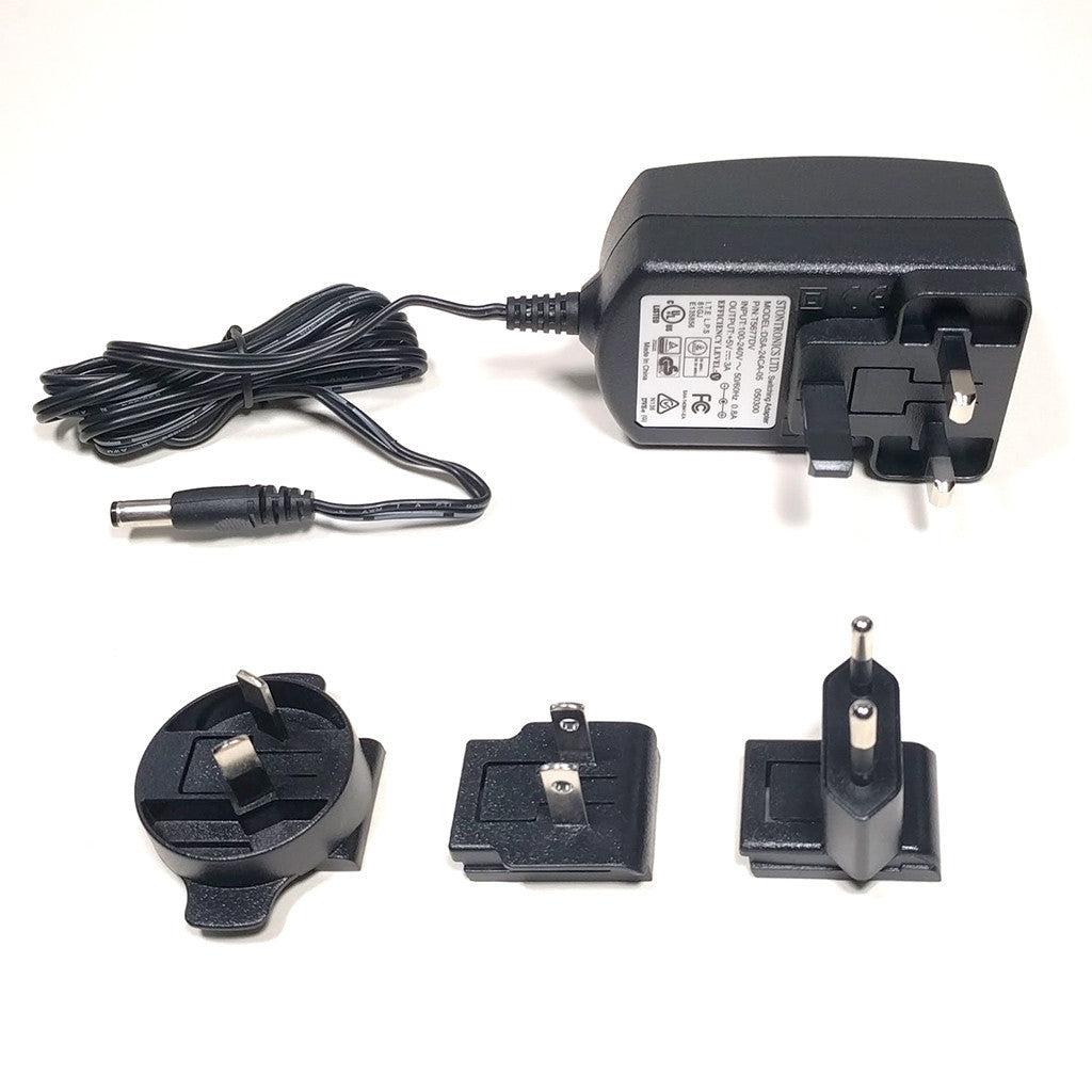 A product image of 5V 3A barrel jack power supply