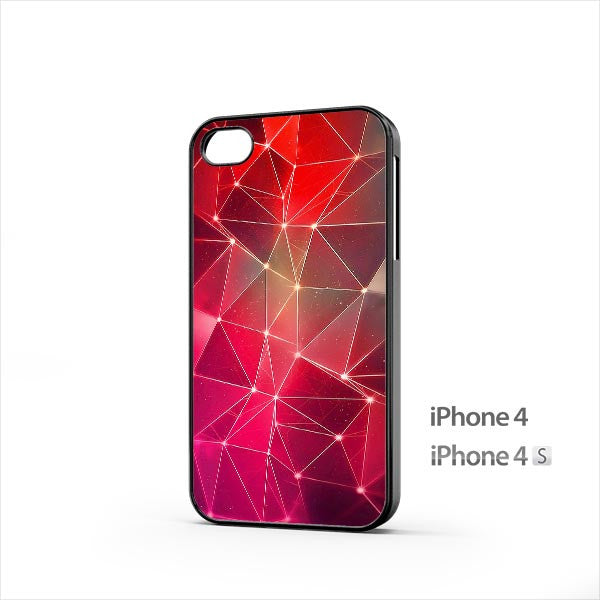 Red Triangles Lights Parallax iPhone 4 / 4s Case