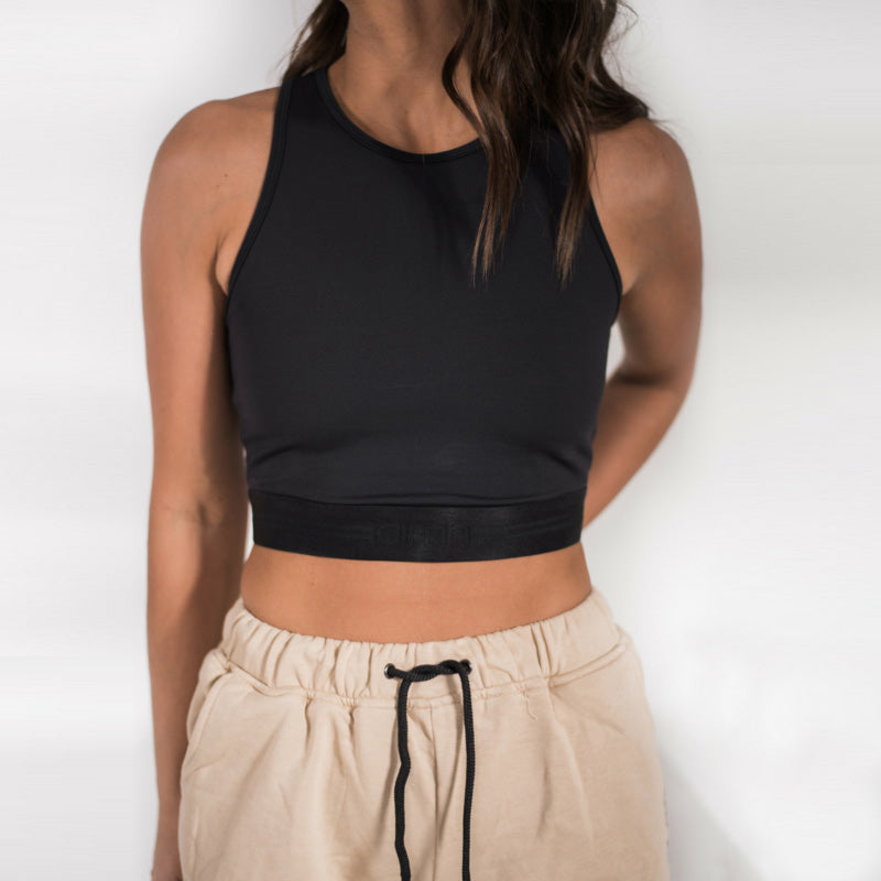 All Black Crop Top-Black