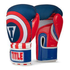 Title Infused Foam Commander Boxing Gloves-Blue-Red