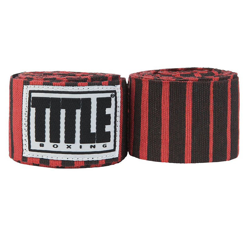 "Title Print Mexican Style 180"" Handwraps-Red & Black Strips"