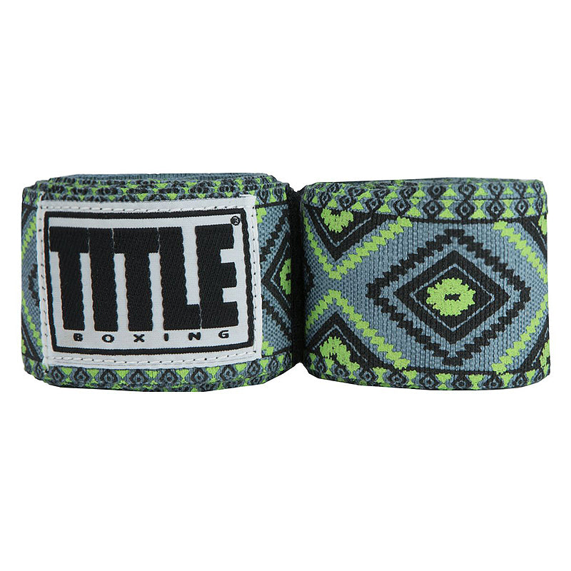 "Title Print Mexican Style 180"" Handwraps-Green Aztec"